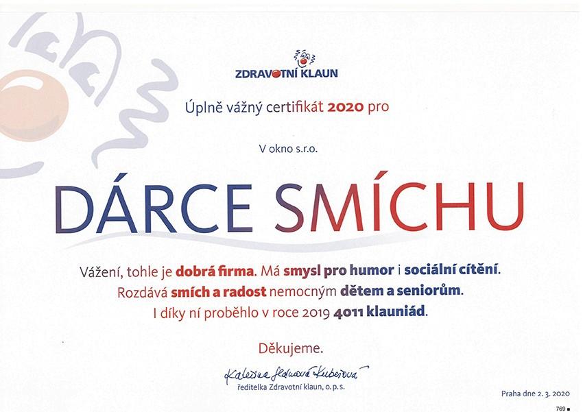 Certifikát DÁRCE SMÍCHU pro V okno