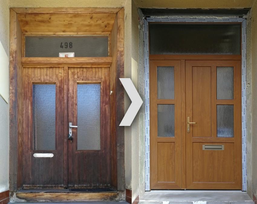 Vchodové dveře plastové profil S 8000, barva zlatý dub oboustran